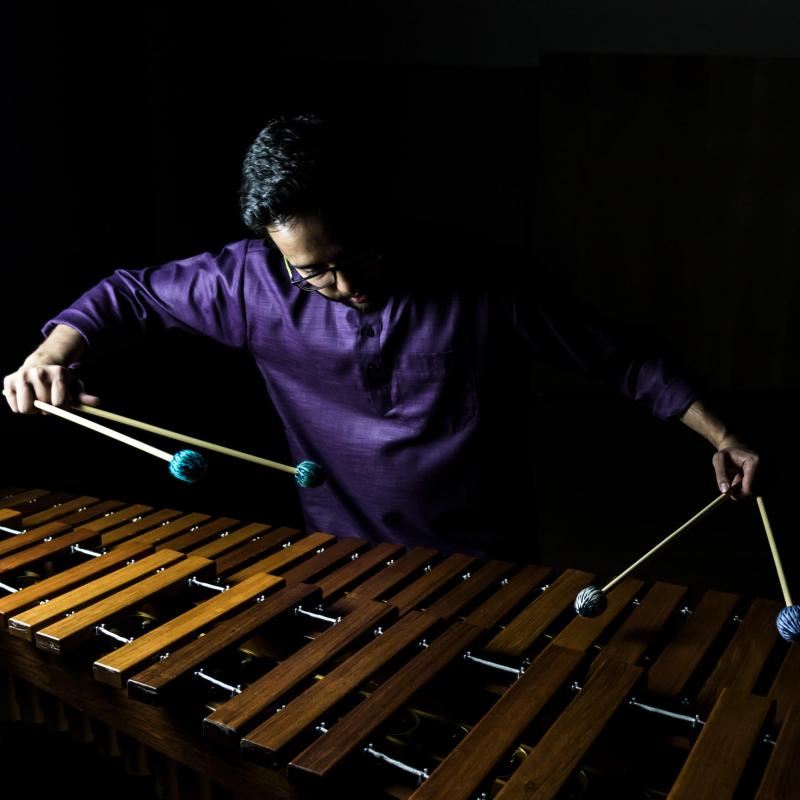 Ujjal Bhattacharyya plays marimba